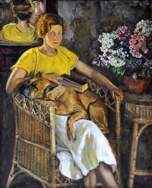 Victor N. Perelman (Russian, 1892-1967), Portrait of the Artist's Wife, Savitsky Art Museum, Nukus, Karakalpakstan, Uzbekistan. Perelman believed that the images and the lives of workers should be documented and depicted in art. He also applied this to the portrait genre, which is usually intimate; however, he believed that portraits should take on an epic monumental stylistic approach. Here, painting wife and dog, the intimate approach prevails.
