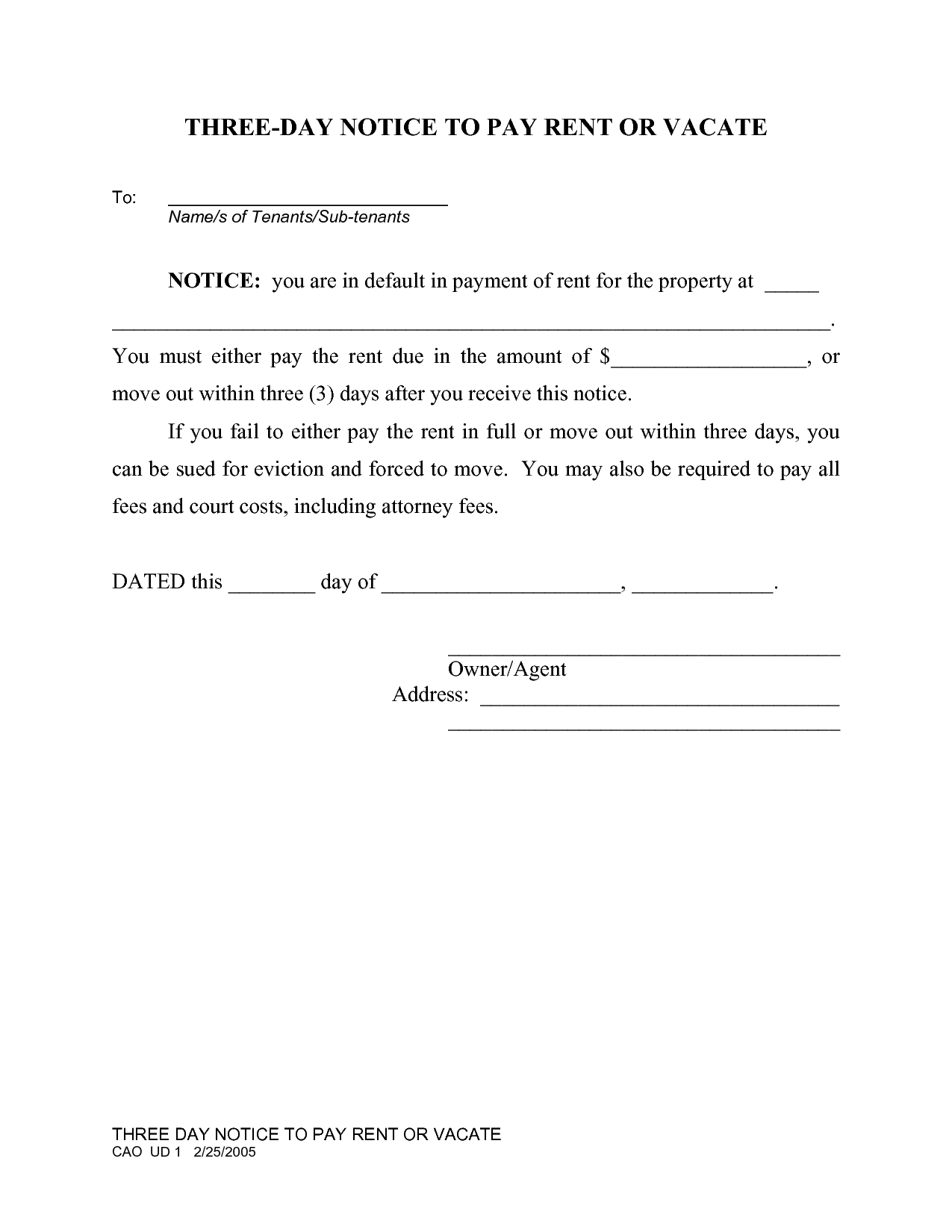 Blank Eviction Notice Form – Eviction Form Template