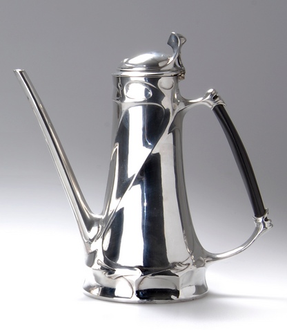 "Art Nouveau German pewter coffeepot, 1904, designed by Friedrich Adler, manufactured by Georg Friedrich Schmitt, Nürnberg, under the trade name Orion, marked ""ORION 200"", 24cm high"