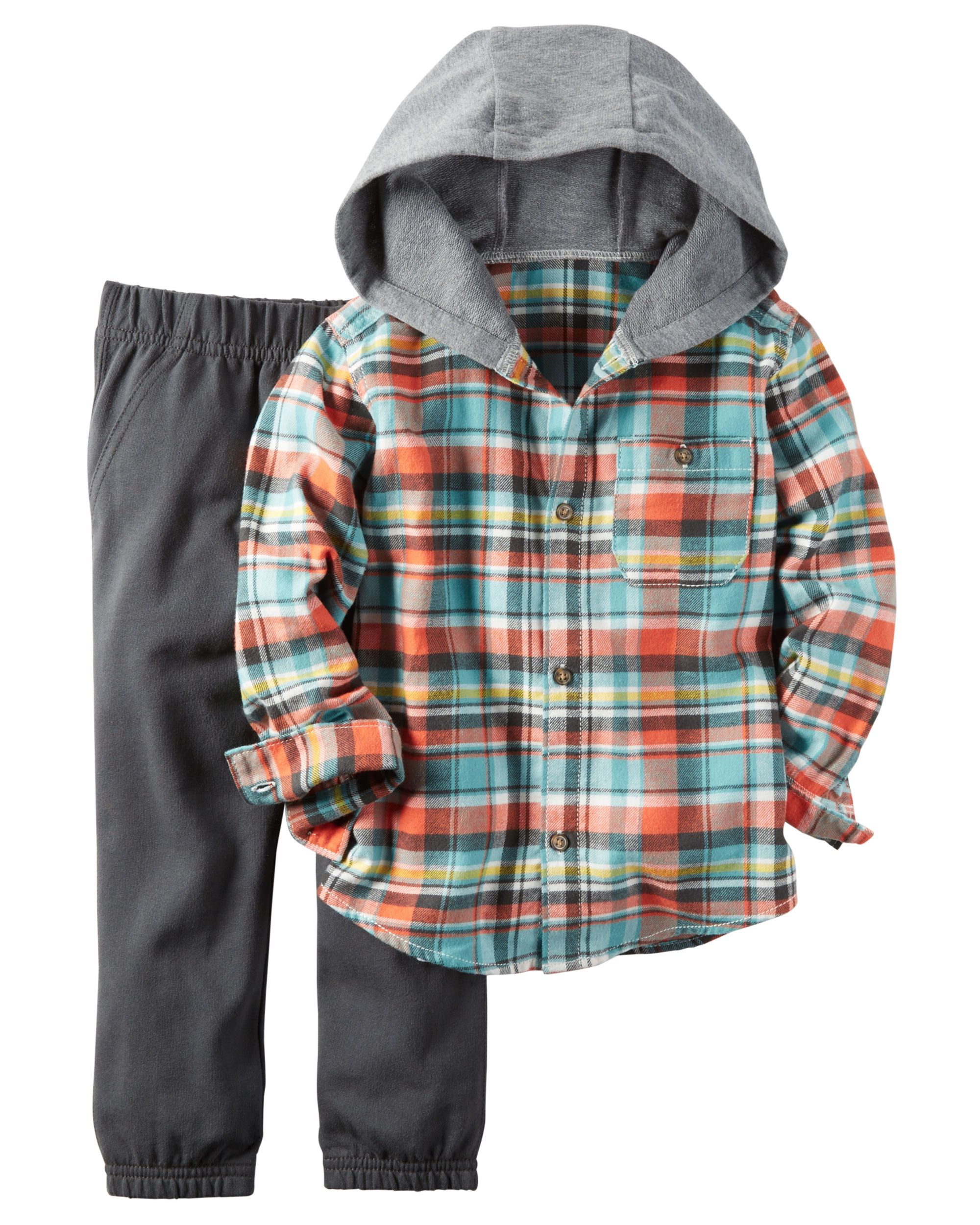 b5b32f06b He's set for playground adventures on brisk fall days in this cozy hooded  button-front and jogger set.