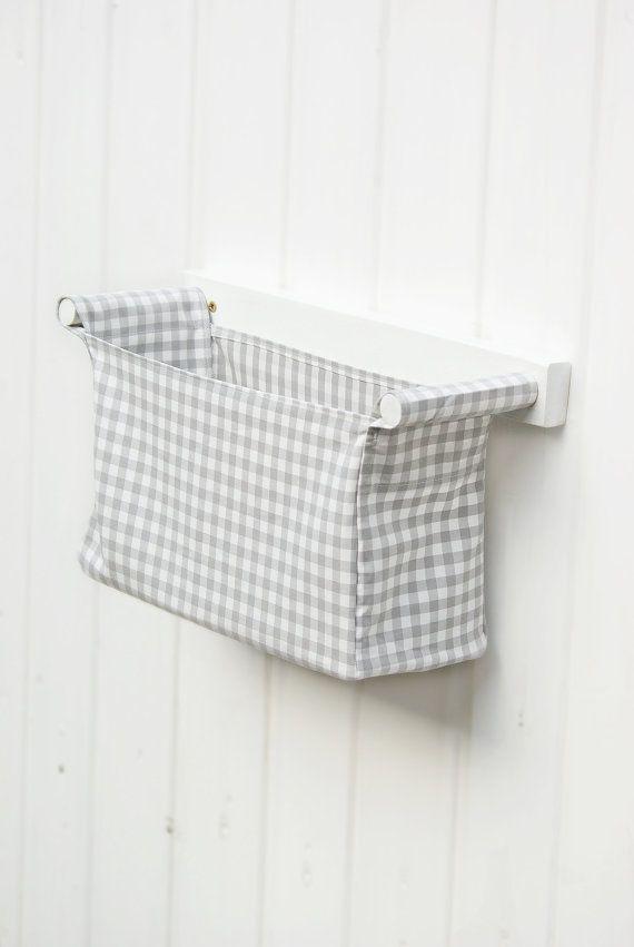 Fabric Bin With Wooden Rack Wall Mounted Diaper Bag For Baby Nursery Fabric Bins Nursery Storage Storage Bins
