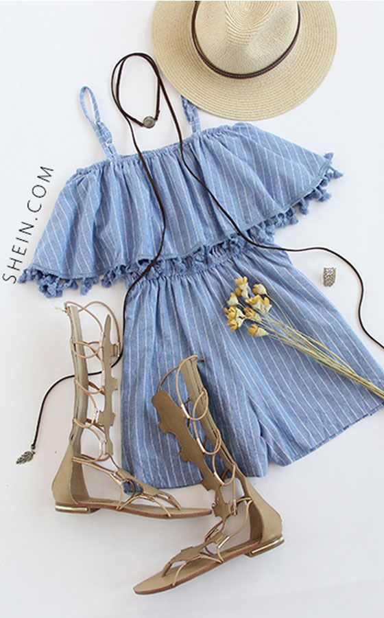 Blue Spaghetti Strap Vertical Striped Fringe Romper
