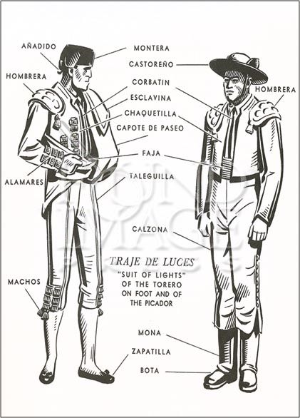 names of the suit of lights (bull fight outfits you'll see