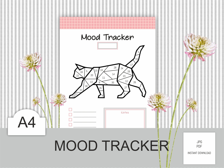 Cat Mood Tracker Printable Self Care Planner Mental Health