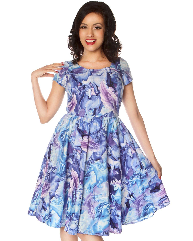 Blue apron unicorn - Pretty Novelty Print Dresses Folter Clothing Retrolicious Purple Unicorn Yes Unicorn