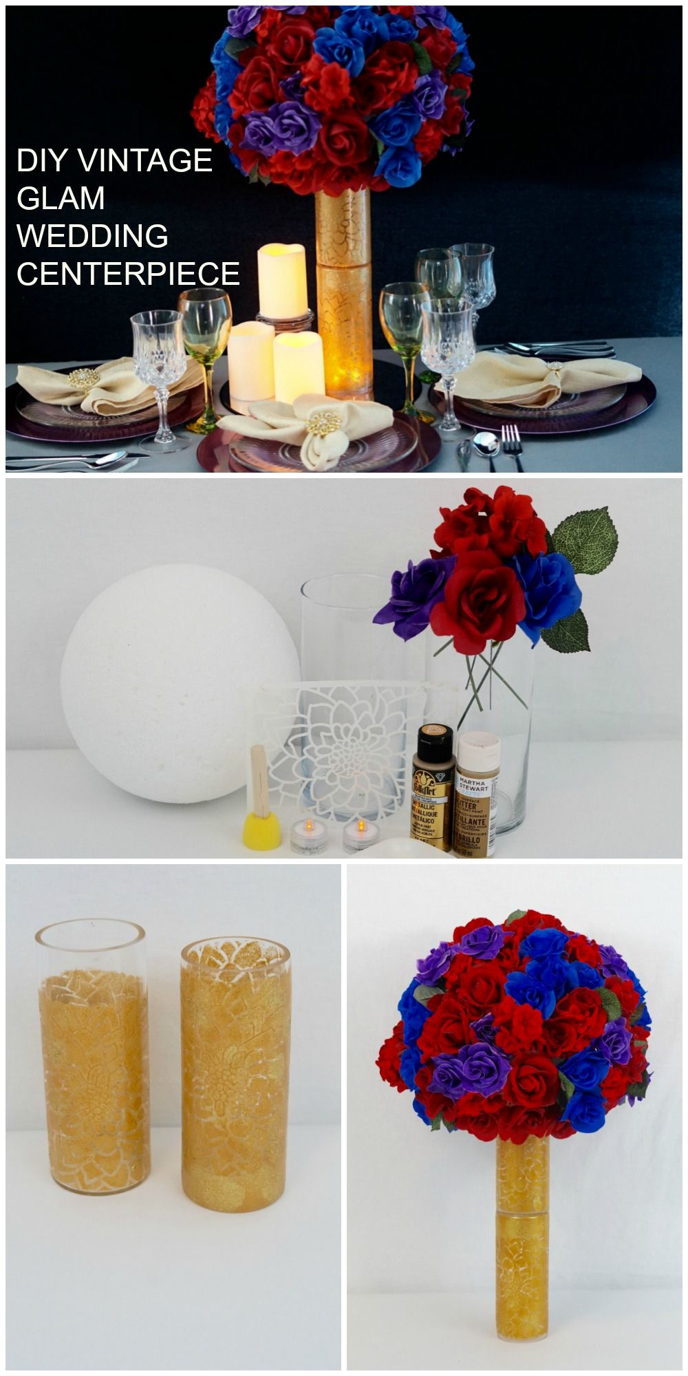Easy to make DIY Vintage Glam Wedding Centerpieces on a budget ...
