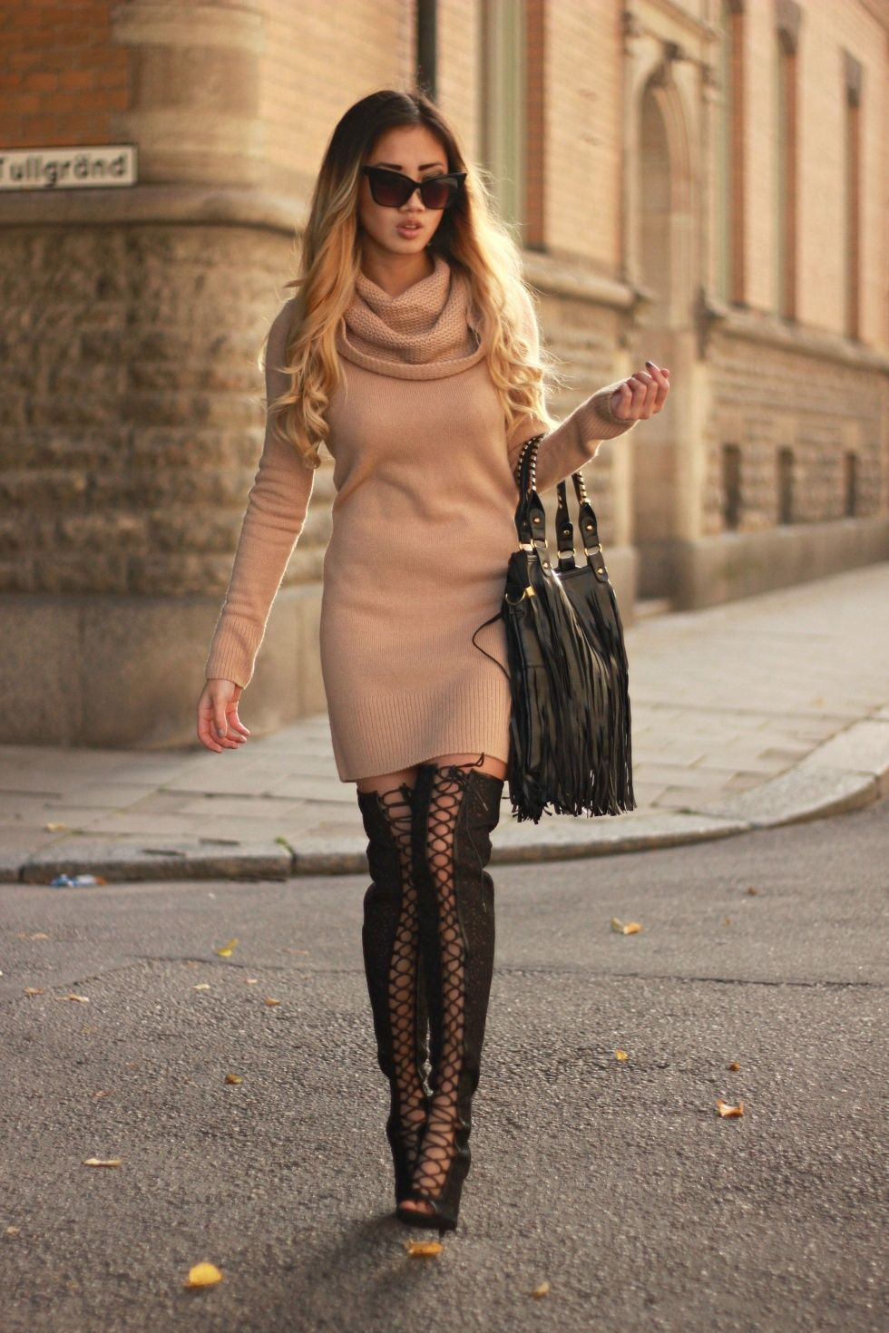 09709cd87d9 Lace up over the knee boots   Thigh high boots outfit    street style   fall     Fringed bag    Knitted turtleneck dress