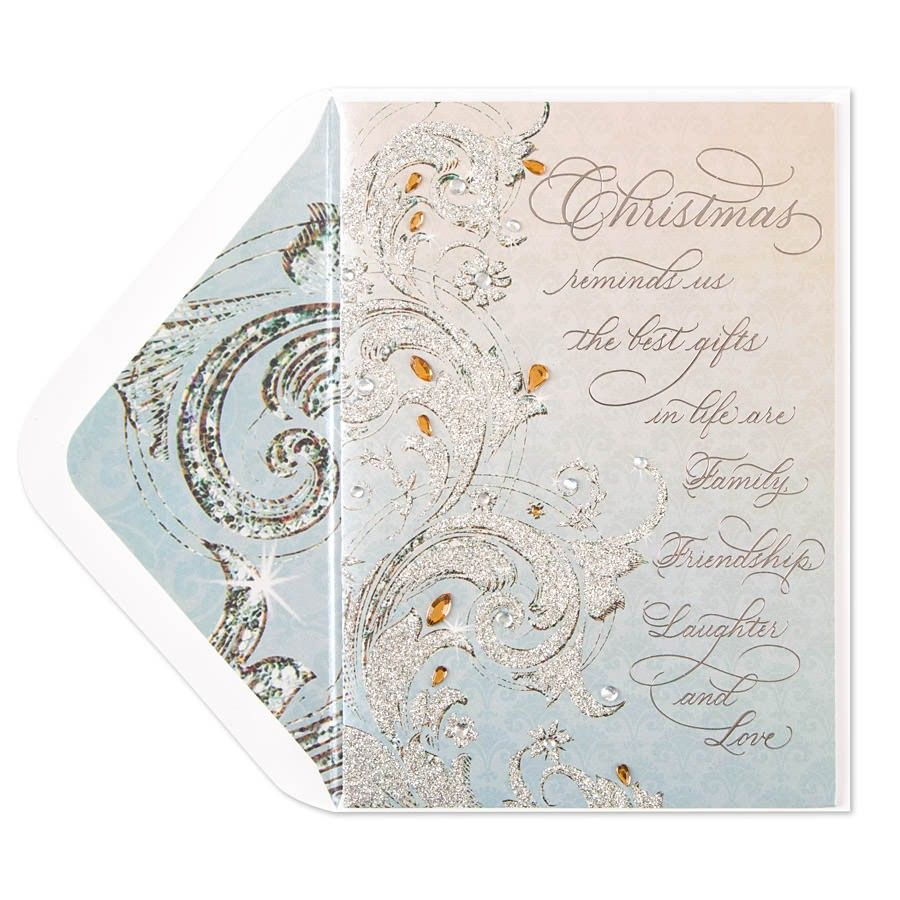 An elegant holiday card which features an inspiring sentiment with intricate glitter flourishes, accentuated with foiling and gem, adds a beautiful touch to this card.