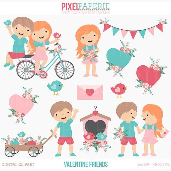 Valentines Day Clipart Digital Clip Art Kids Children Birds Etsy Valentines Day Clipart Clip Art Valentines For Kids