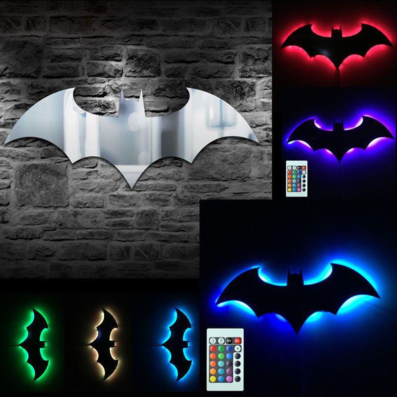 Batman Logo Mirror Wall Light Dark Knight Bat Symbol Logo Led Wall Lamp Gift Batman Wall Batman Decor Led Night Light