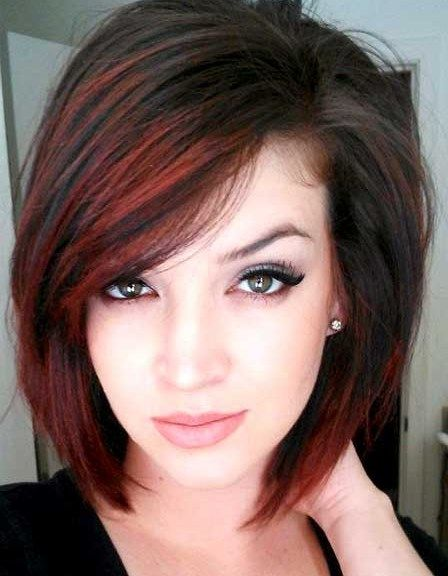 Short Bob Hairstyles With Red Highlights And Side Bangs For Straight