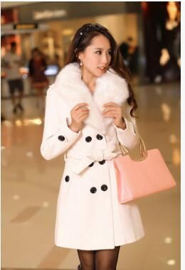 21e23be5314d0 2017 new Winter Womens Double Breasted Big Fur Collar Plus Size Wool Coat  Long Winter Jackets Parka Coats Outerwear High Quality