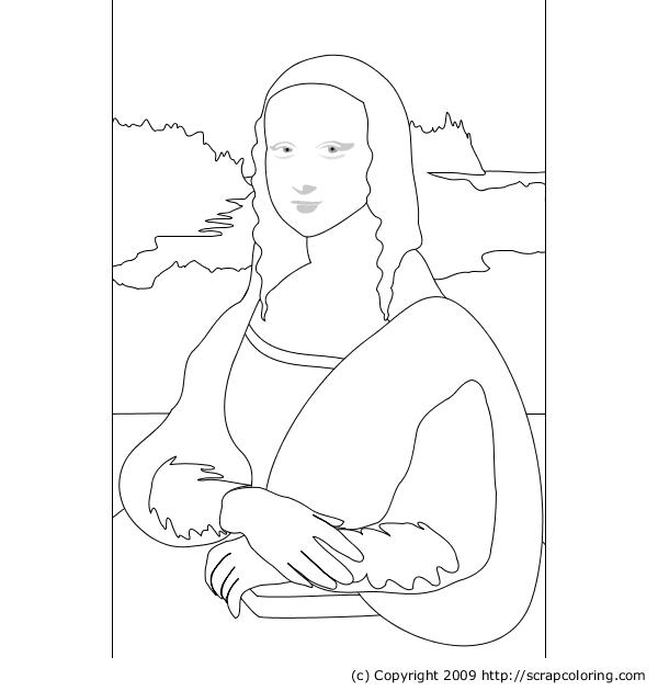 Mona Lisa   La joconde, Dessin leonard de vinci, Coloriage
