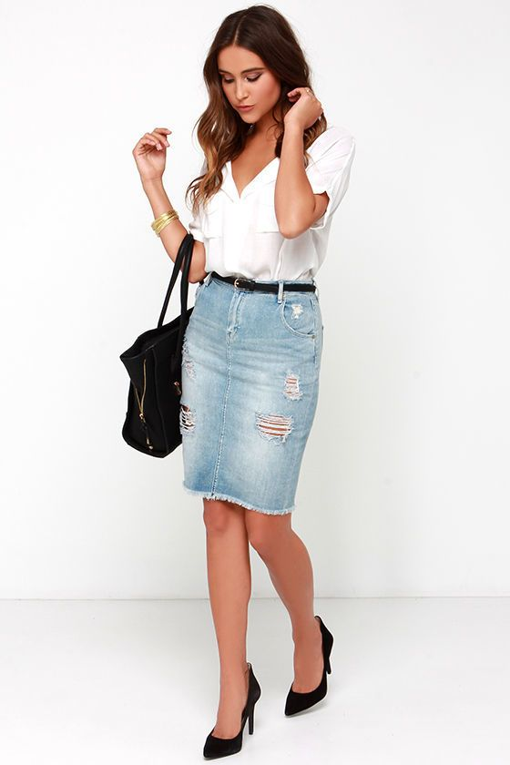 f7ce4f89f how to wear high waisted denim skirt - Google Search | Clothing ...