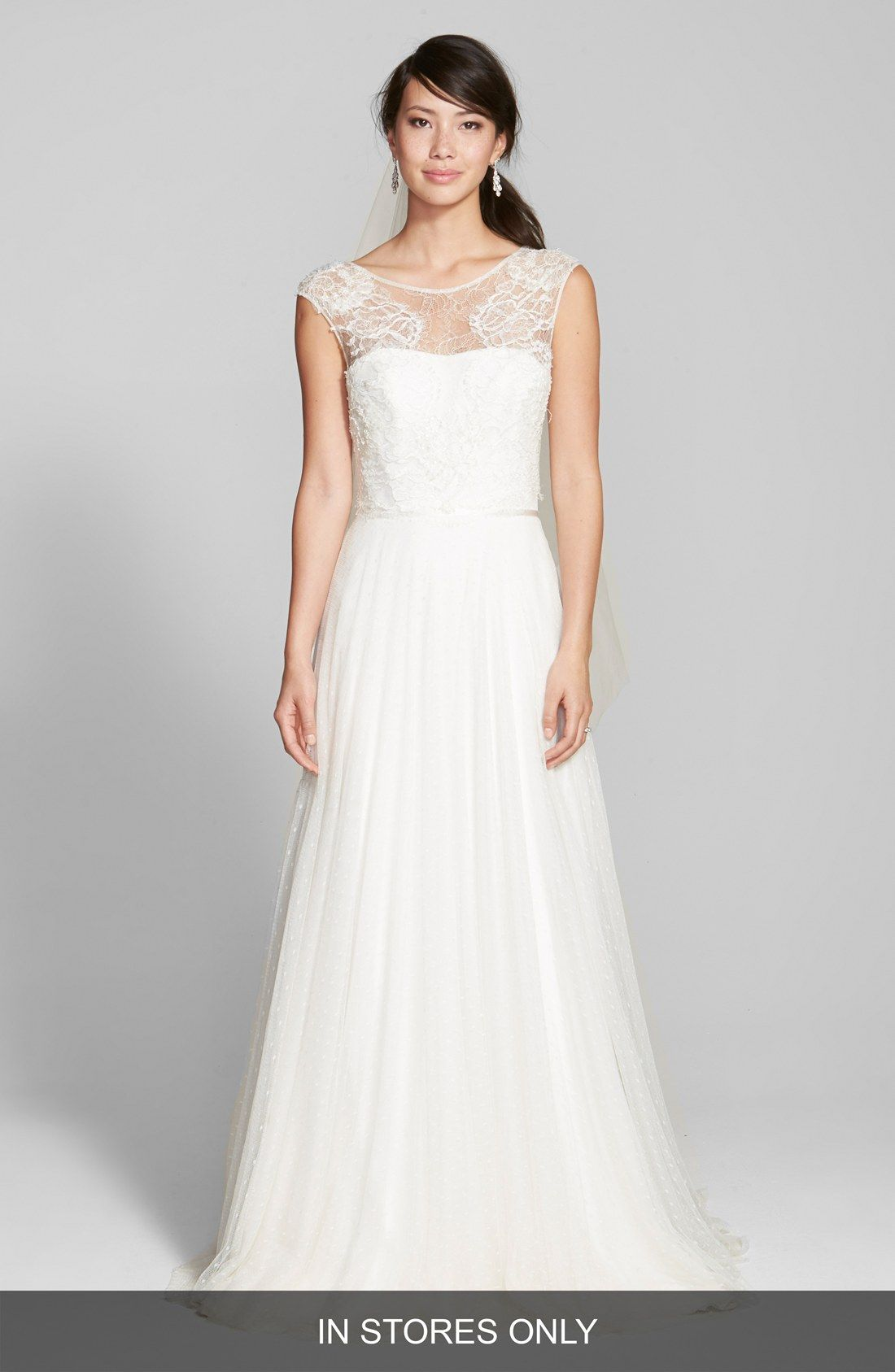 Jesús Peiró Lace & Swiss Dot Tulle Dress with Mikado Overskirt (In ...
