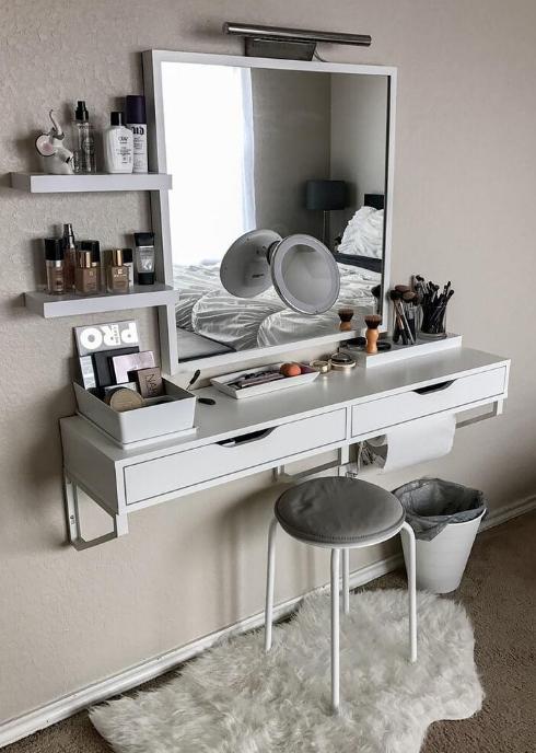 Space Saving Vanity Small Bedroom Decor Room Makeover Room Inspiration