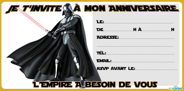 invitation anniversaire star wars imprimer avec les personnages de dark vador et le sage yoda. Black Bedroom Furniture Sets. Home Design Ideas