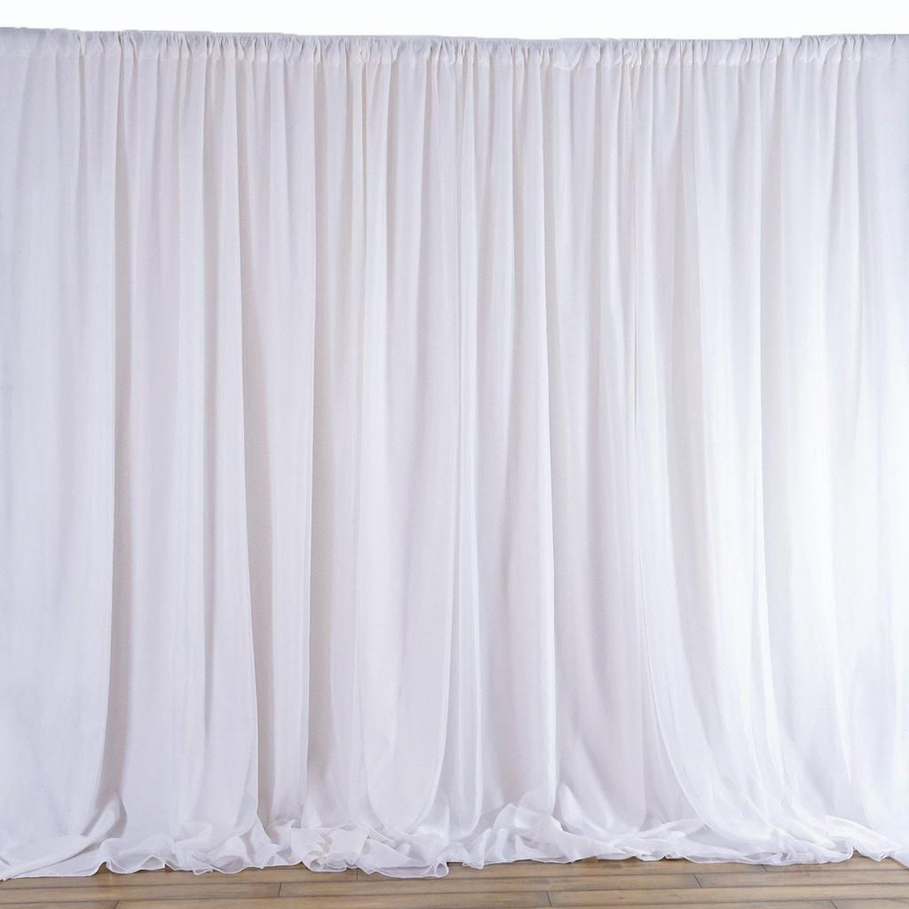 20ftx10ft White Double Layer Polyester Chiffon Backdrop With Rod Pockets Fabric Backdrop Curtain Backdrops Backdrops For Parties
