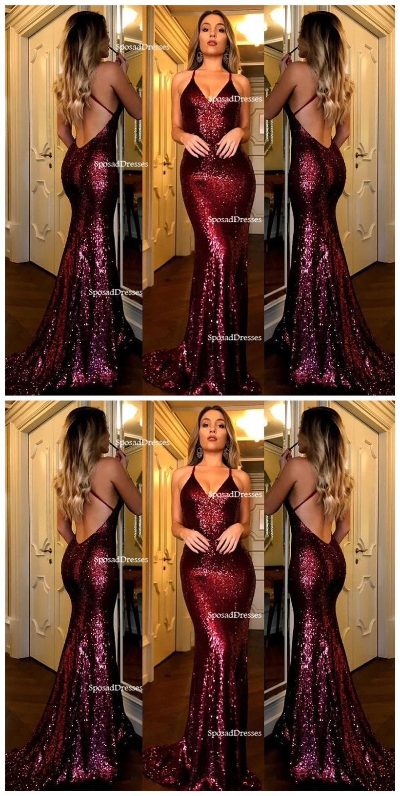 Sexy backless dark red sequin mermaid evening prom dresses popular