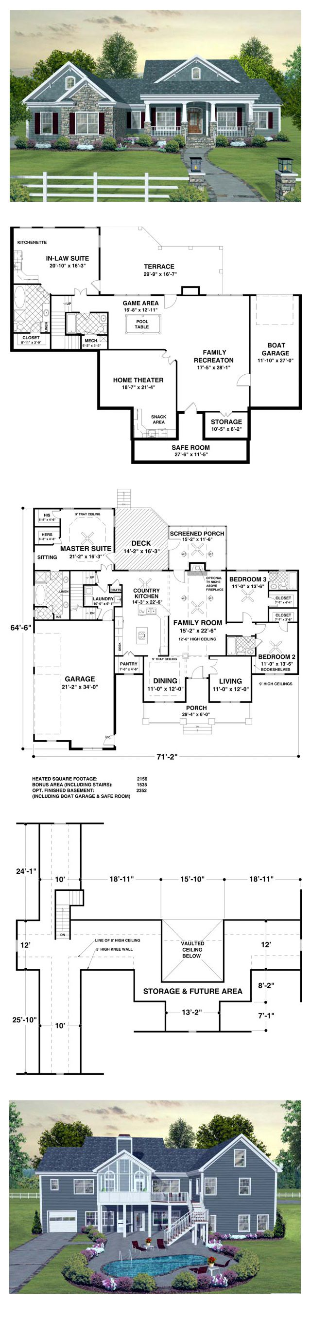 Craftsman House Plan 93483   Total Living Area: 2156 sq. ft., 3 bedrooms & 3 bathrooms. A three car garage, screened porch, spacious country kitchen, an optional 1,535 sq. ft. bonus area and an optional 2,352 sq. ft. basement make this home irresistible! #houseplan #craftsmanstyle