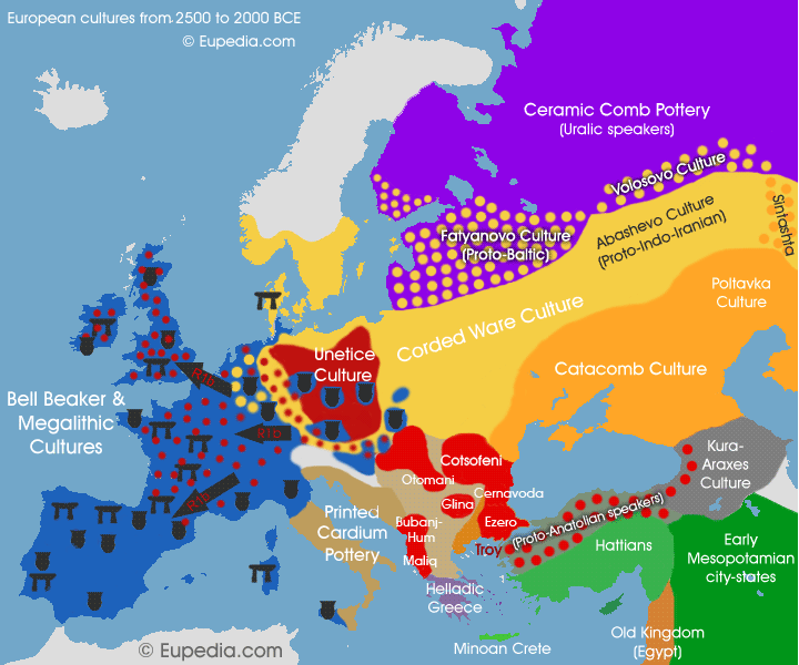 Map of early to middle Bronze Age cultures from c  2,500 to 2,000