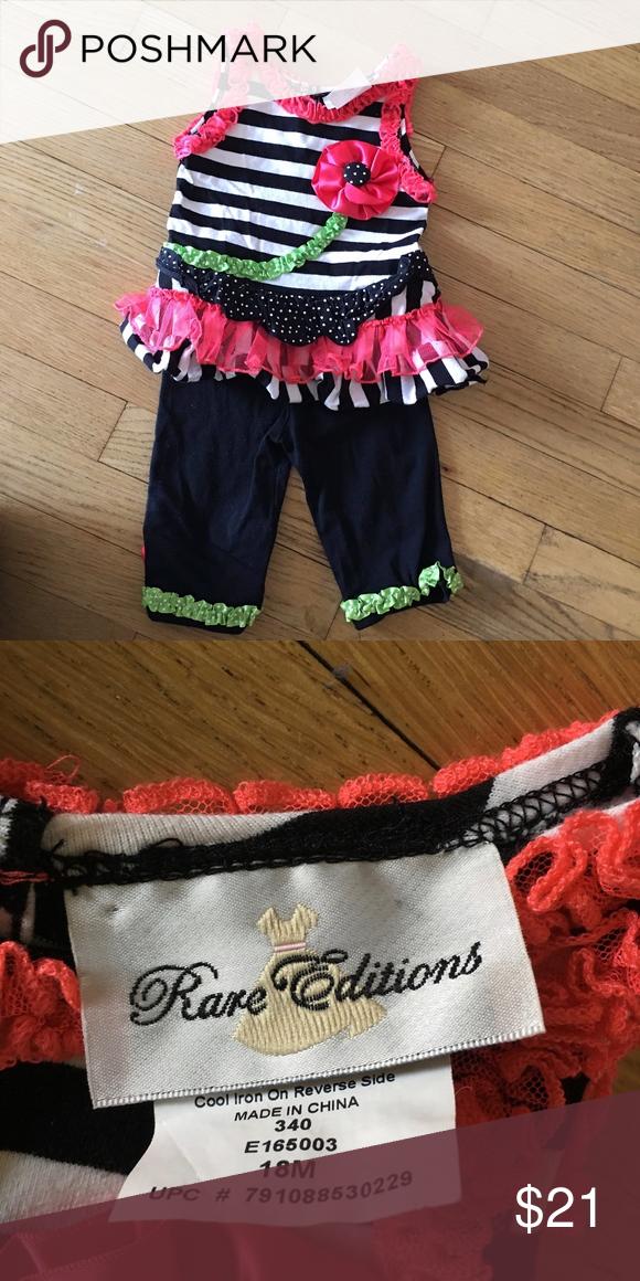a1b6183e4424b Rare Editions Baby Girl 18M Matching Outfit Smoke/Pet Free home Rare  Editions Matching Sets
