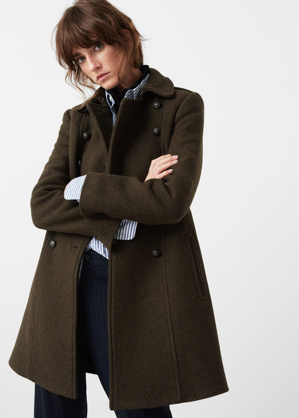 Military style wool coat - Coats for Woman | MANGO USA