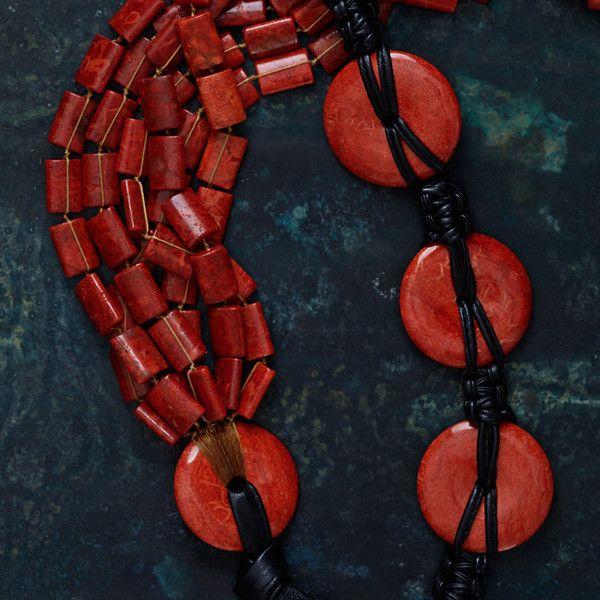Sponge Coral Small Discs & Black Lambskin Belt by Simon Alcantara   DARA Artisans