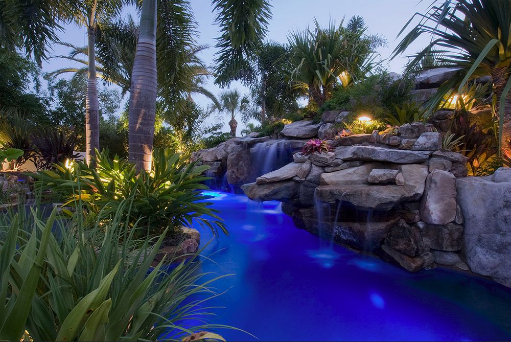 Pool Lagoon With Spa, Slide, And Grotto By Lucas Lagoons In Florida
