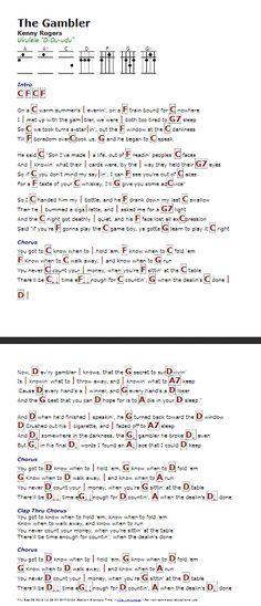 The Gambler (Kenny Rogers) - http://myuke.ca | Songs | Pinterest ...