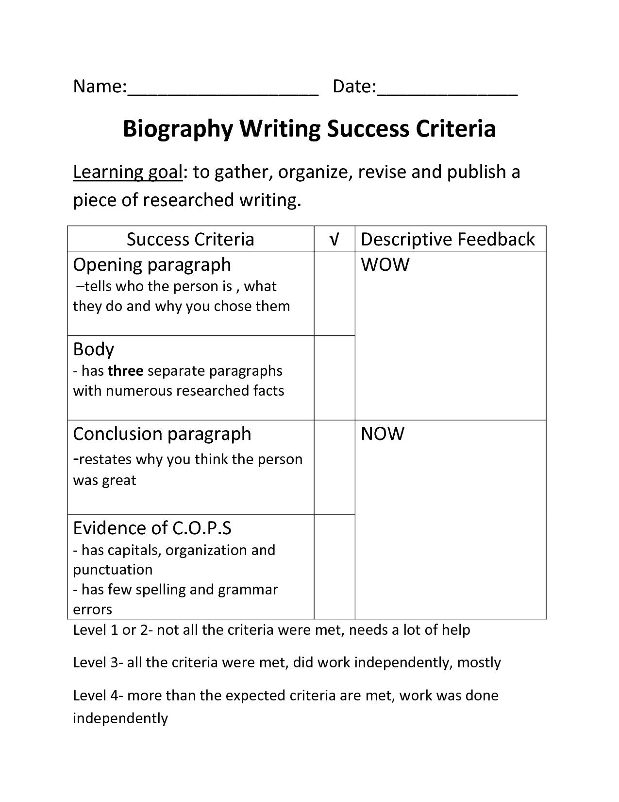Success criteria for 5 paragraph essay