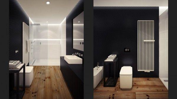 zwart wit loft badkamer - loft inspiration | Pinterest - Zolder ...