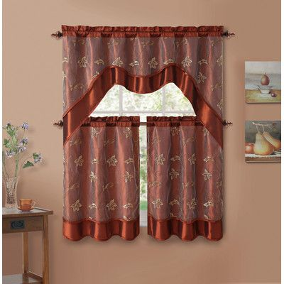 Rosalind Wheeler Mulholland Valance and Tier Set Color: Cinnamon