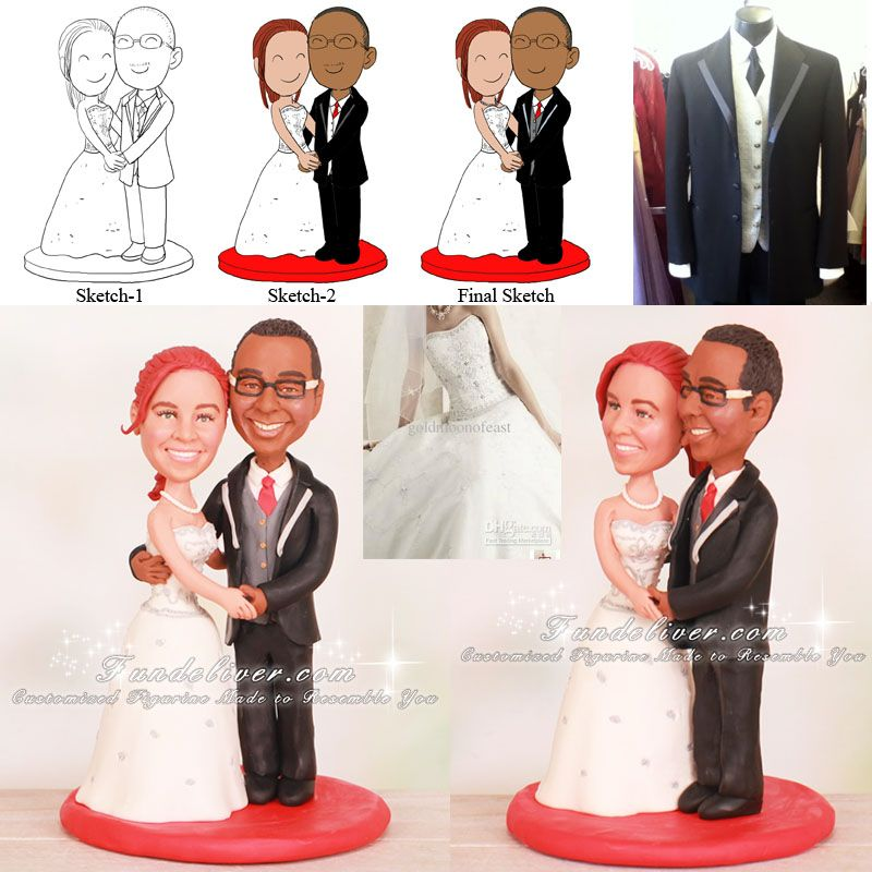 bride groom touching face wedding cake toppers