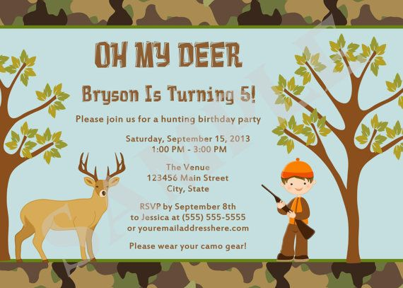 17 Best images about Carters 7th birthday – Hunting Party Invitations