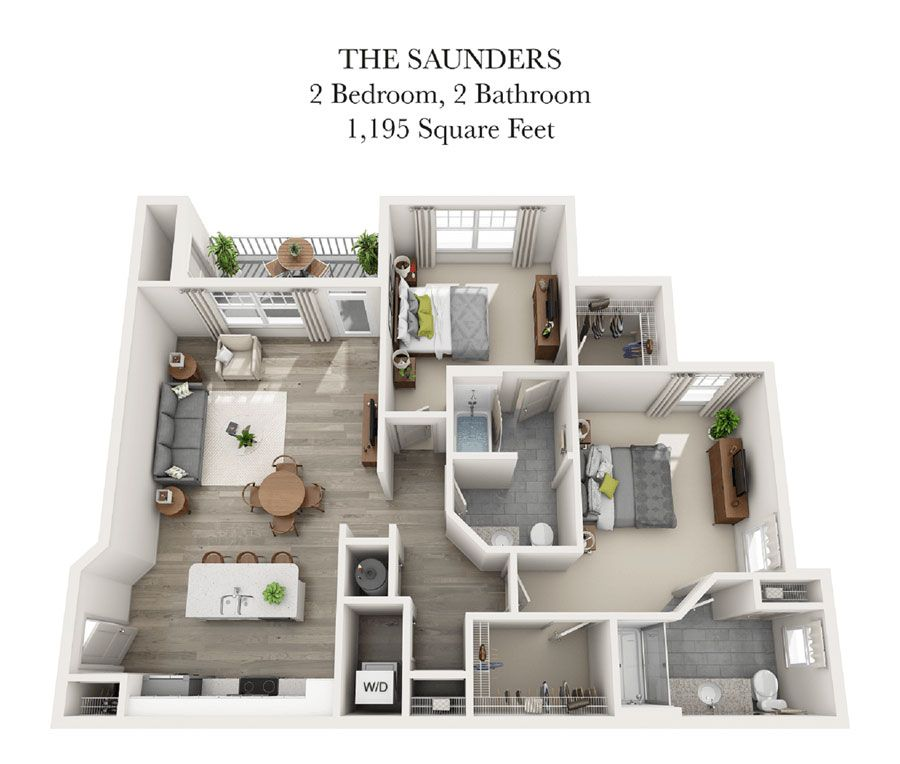 The Saunders 2 Bedroom Apartment Apartment Floor Plans Luxury Apartments Apartment Layout