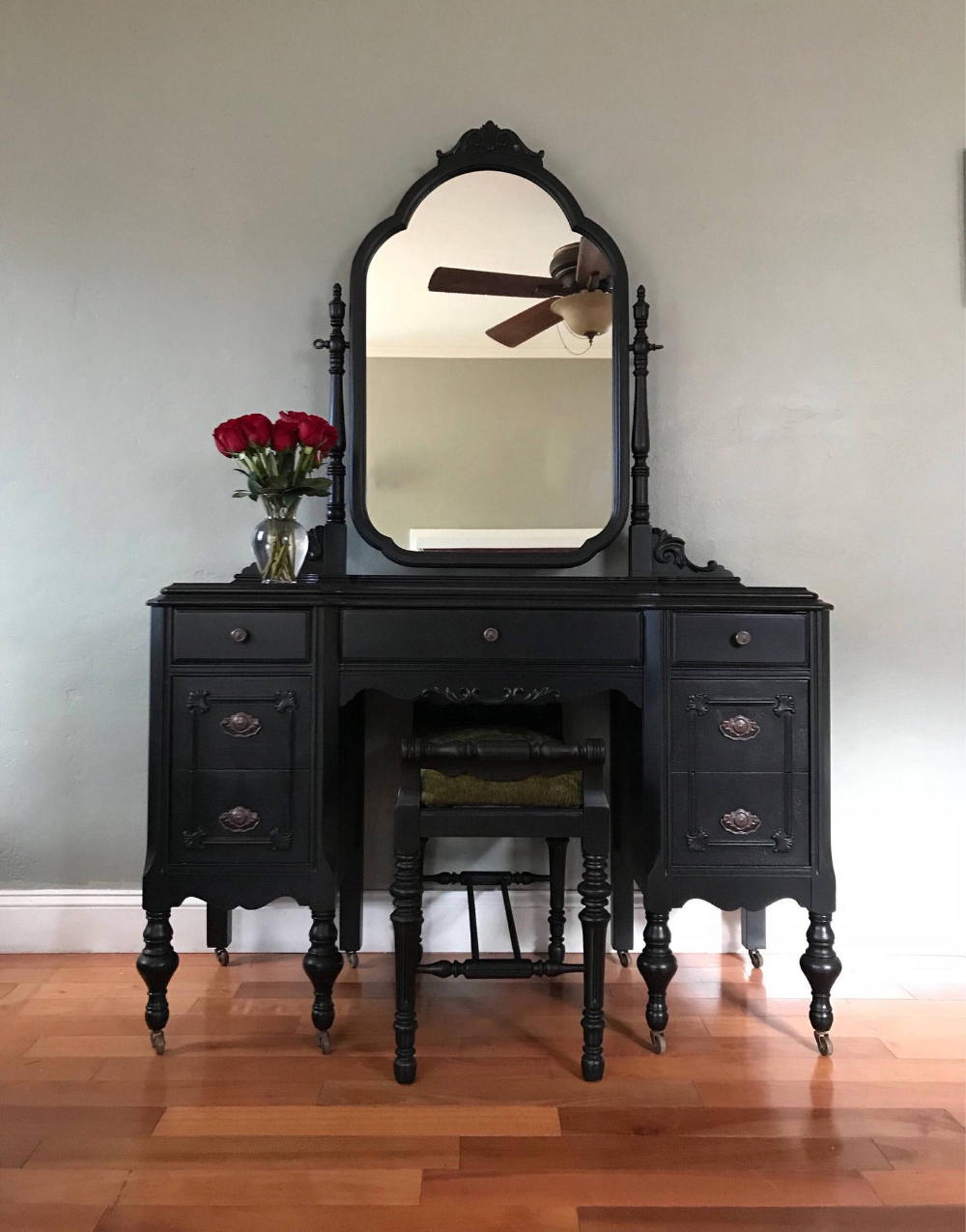 SAMPLE PIECE ONLY Antique Makeup Vanity with Mirror and
