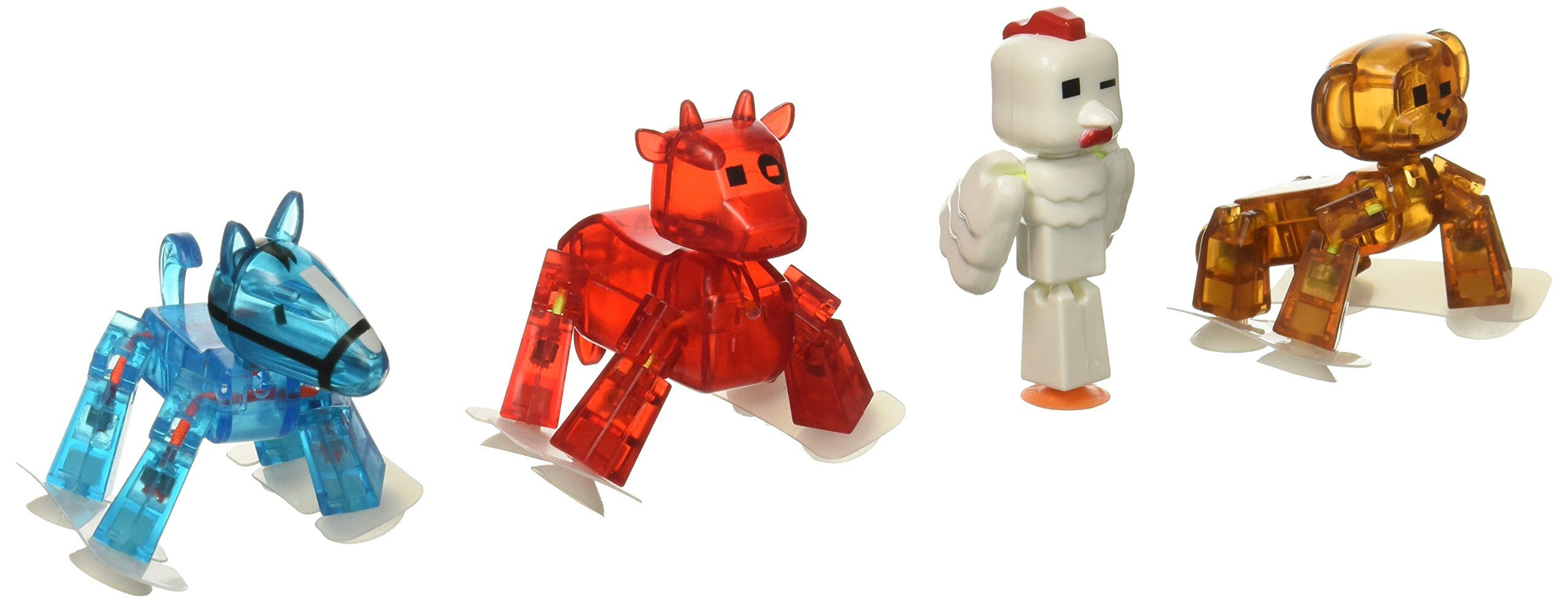 Zing Stikbot 4 x Pets Monkey, Horse, Cow, Chicken