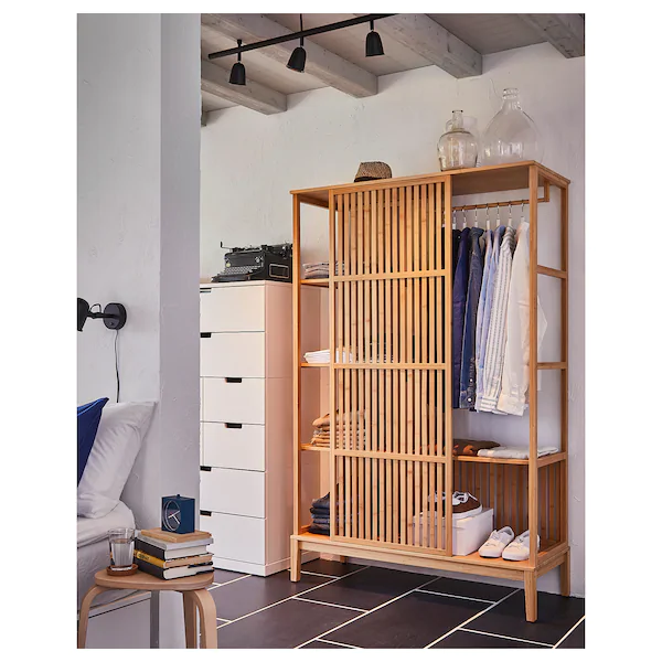 Nordkisa Bamboo Open Wardrobe With Sliding Door Width 120 Cm Height 186 Cm Ikea In 2020 Sliding Wardrobe Doors Open Wardrobe Sliding Doors
