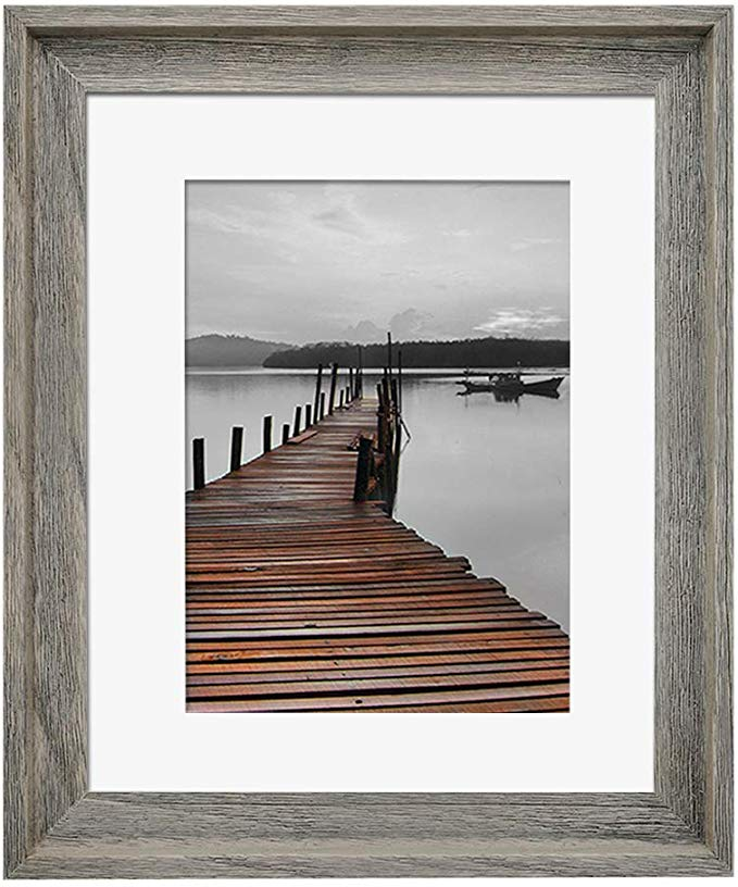 Amazon Com Eosglac Rustic 11x14 Picture Frame Matted To 8x10 Wooden Frames Weathered Gray Home Kitchen 11x14 Picture Frame Frames On Wall Rustic Pictures