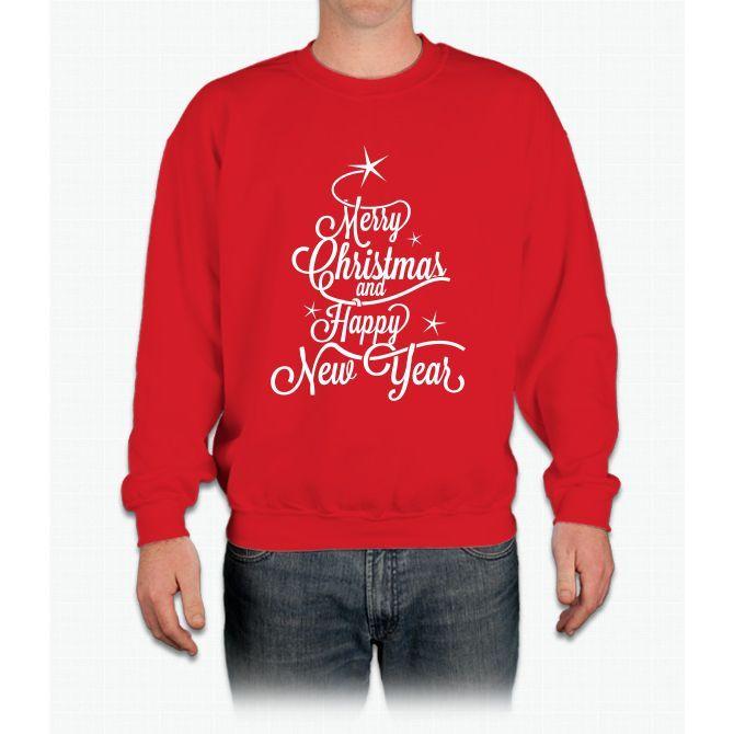 Merry Christmas Happy New Year Christmas Tree T-shirt Crewneck Sweatshirt