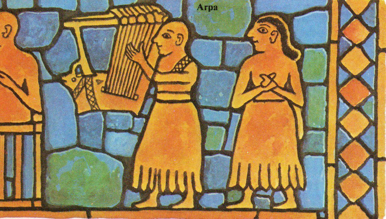 La mayoría de los datos que tenemos sobre las actividades musicales de la antigüedad vienen de las pinturas. Esta es de hace 4.000 años y muestra unos músicos en el antiguo país de Sumeria.