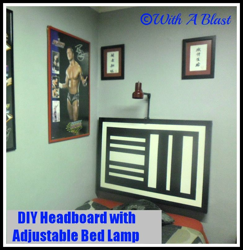 DIY Headboard with Adjustable Bed Lamp {made from an old hollow-core ...