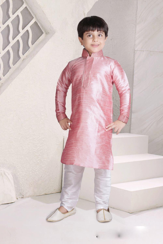 d4a4b4f7ca Pink designer indian ethnic Kids wear Kurta Pajama in Art silk
