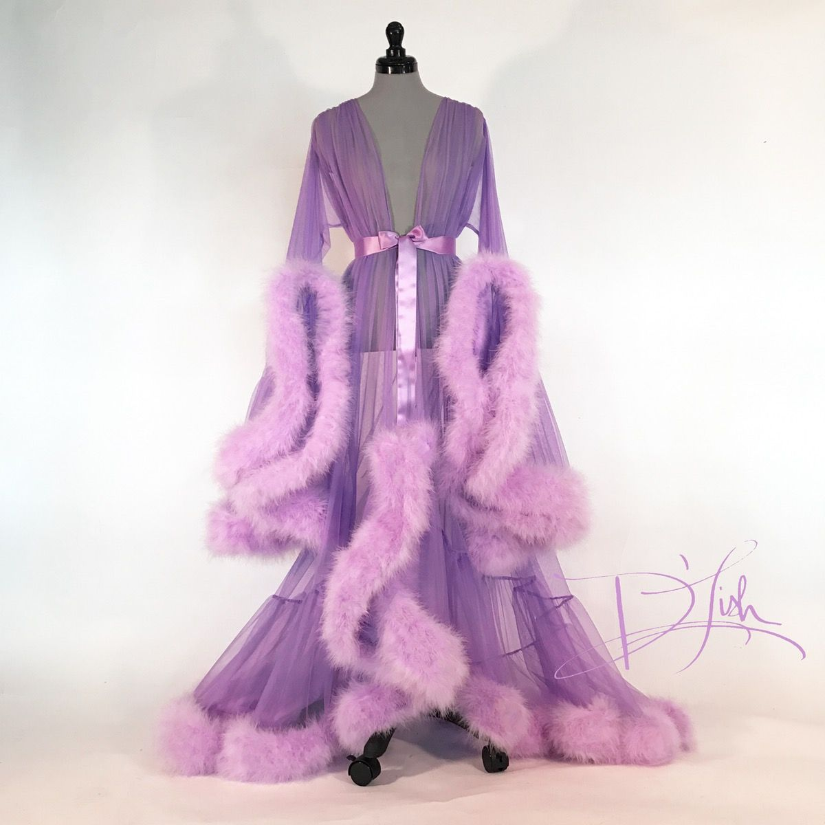 Also available in other colors. Dramatic sheer dressing gown ...