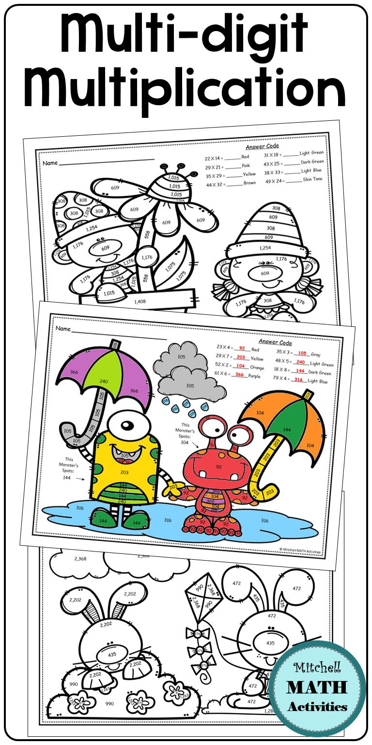 MultiDigit Multiplication Color by Number Spring