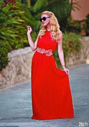 Wine Red Sleeveless Pleated Infinity Maxi Dress -SheIn(Sheinside)