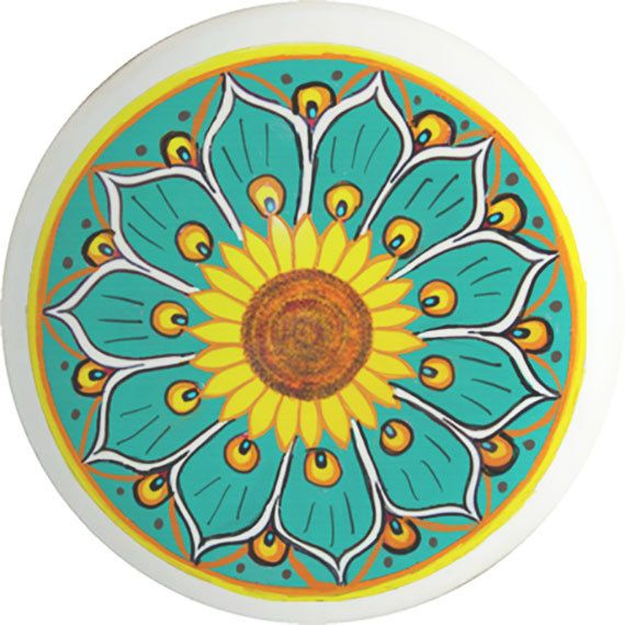A nice different presentation of a Talavera style. Knob is high grade white ceramic with the design heat fused on permanently. 1.5 inches in diameter and 1 inch deep. Screw is included for each knob and of course Made in the USA. Please convo any questions.   Be sure to visit my other etsy shop at pamelasplumes.etsy.com