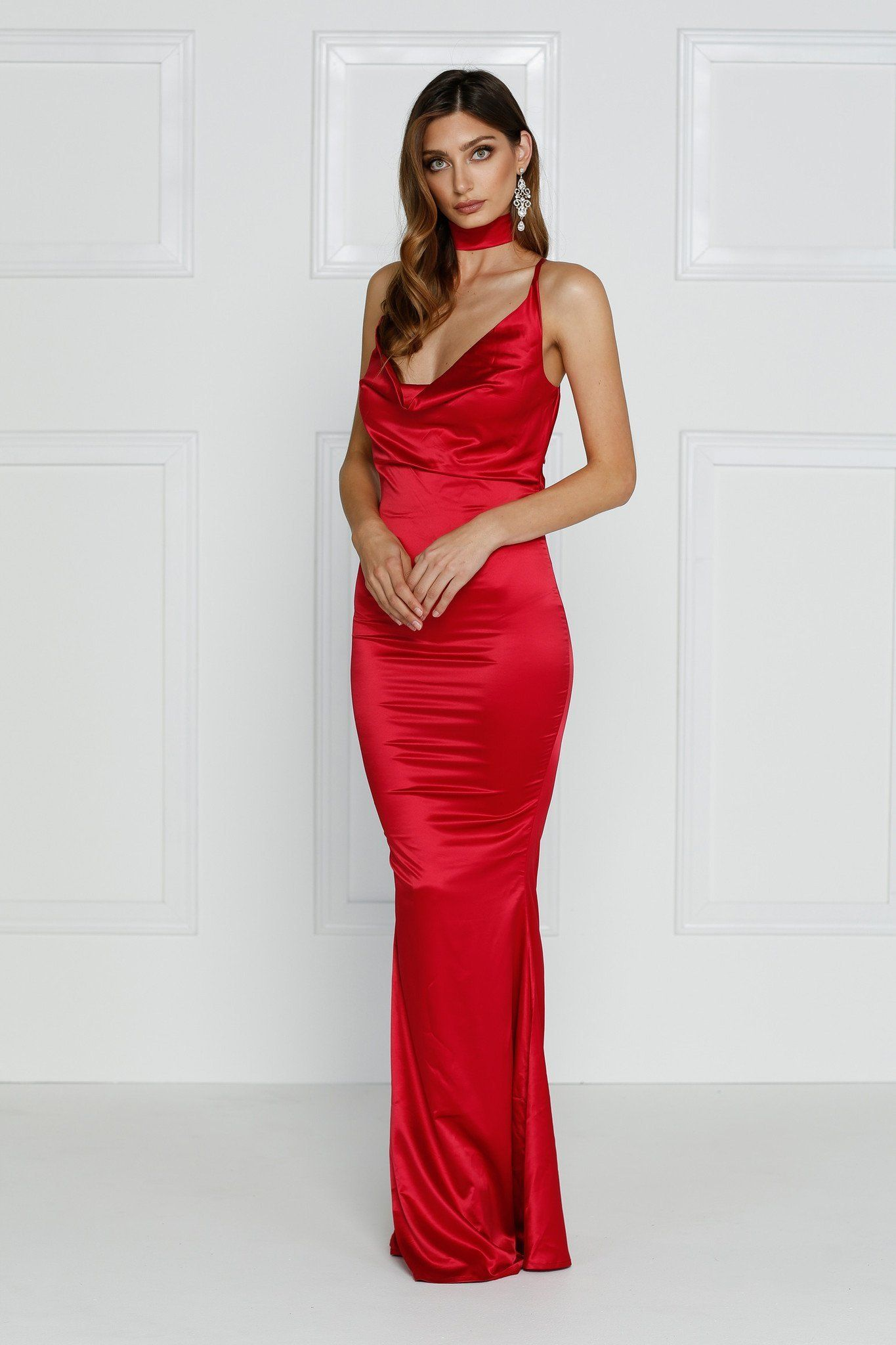 Crisantemi cherry red gowns satin dress long satin gown
