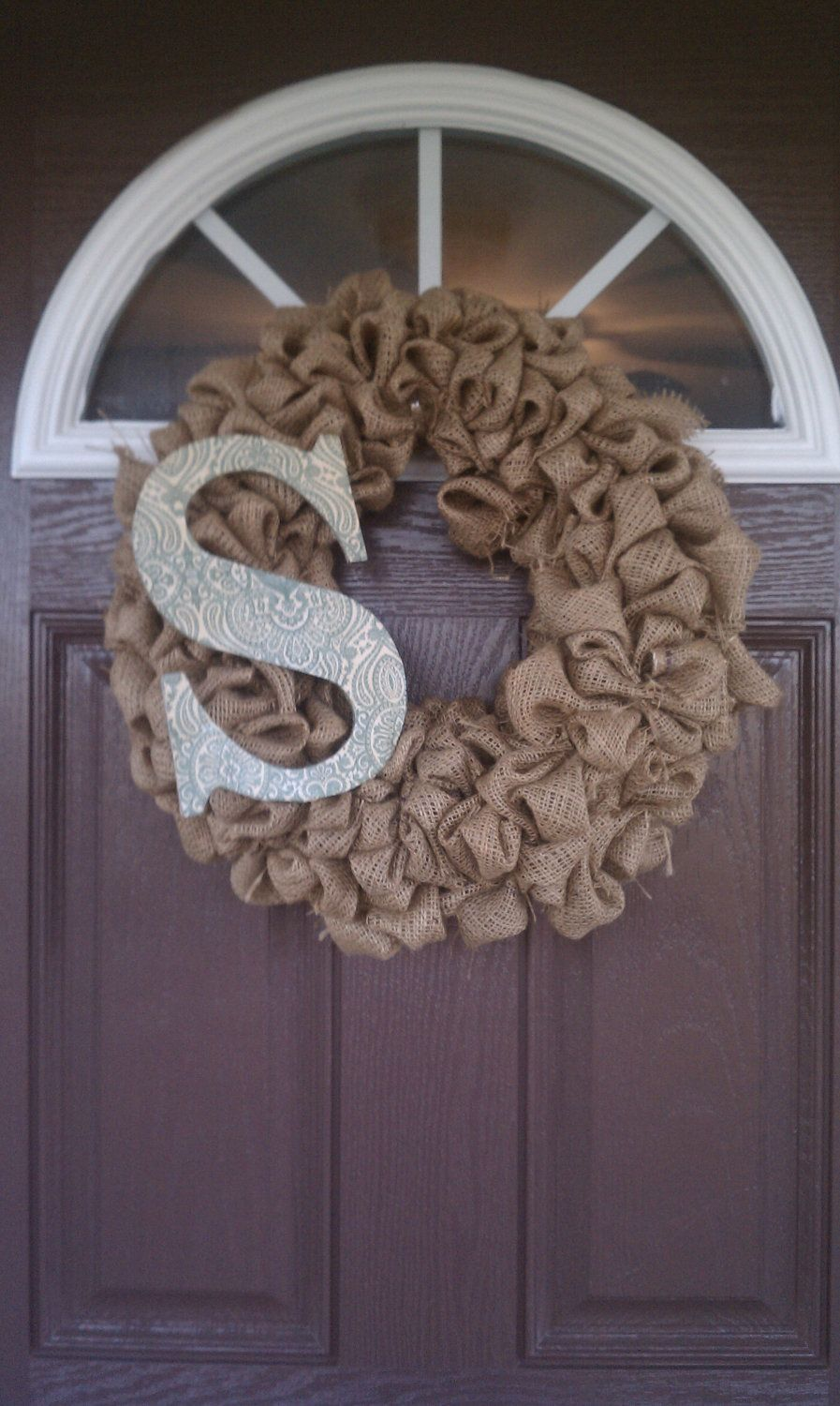 Customized Burlap Wreath by OneThirtyOneDesigns on Etsy, $25.00